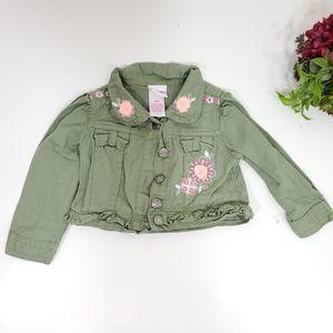 Nannette Kids Green Denim Floral Jacket